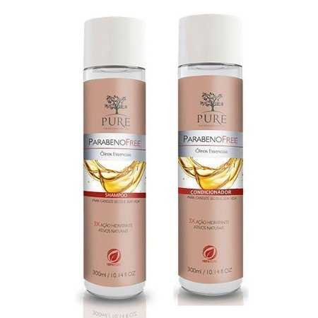 Shampoo + Condicionador Pure Parabeno Free Óleos Essenciais 300ml Cabelos Secos e Sem Vida