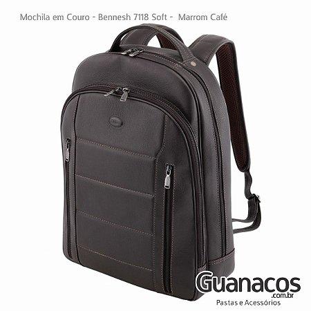 Mochila em Couro Legítimo - Bennesh 7118 Café - Notebook 15.4