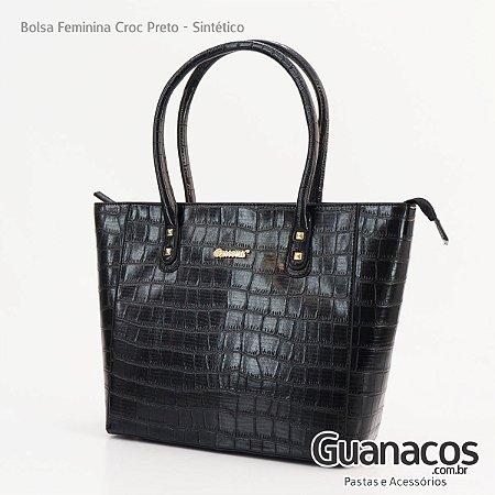 02b962783 Bolsa Feminina Croco Queens - Alça de mão - Preta - Guanacos Pastas ...