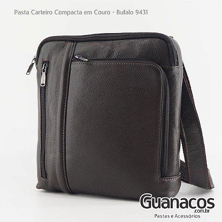 Pasta Carteiro em Couro - Compacta - Bennesh 9431 Café - Bufalo