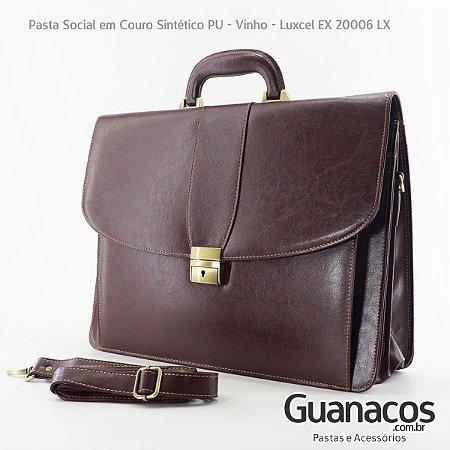 b656523a6b4 Pasta Social Executiva em Couro Sintético - Luxcel - Vinho EX20006 ...