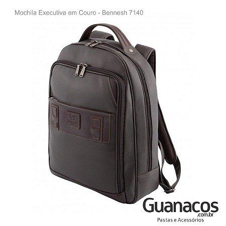 Mochila em Couro Soft - Bennesh 7140 - Café - Notebook 15.4