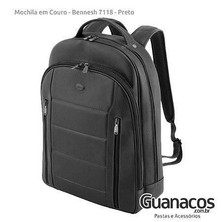 Mochila em Couro Legítimo - Bennesh 7118 Preto - Notebook 15.4