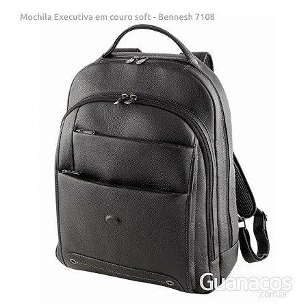 Mochila em Couro Soft - Bennesh 7108 - Preto - Notebook 15.4