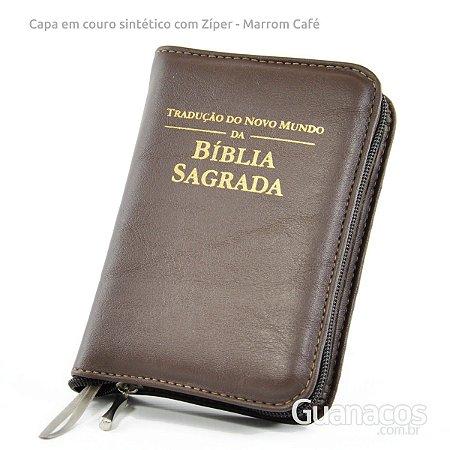 Capa para Bíblia com Ziper - couro sintético - Café