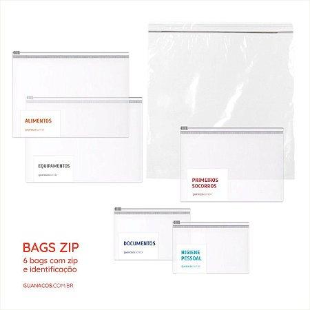 Kit 6 Bags - Fechamento ZIP e identificação - Fácil de organizar e montar sua mochila emergência
