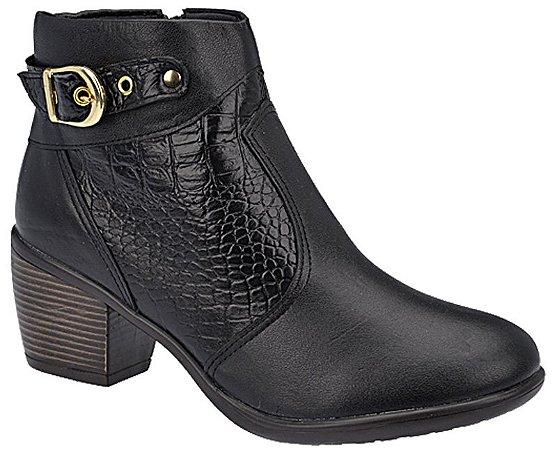Ankle Boot Couro Preto Croco Preto Salto 5,5 cm