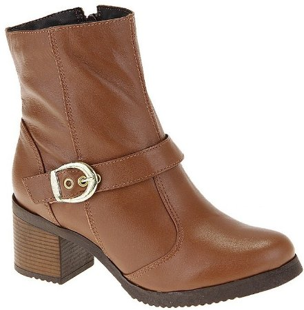 Ankle Boot Couro Whisky Salto 5 cm