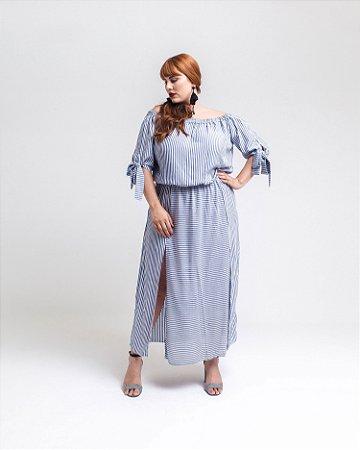 Vestido Longuete Plus Size Ombro a Ombro Com Fendas