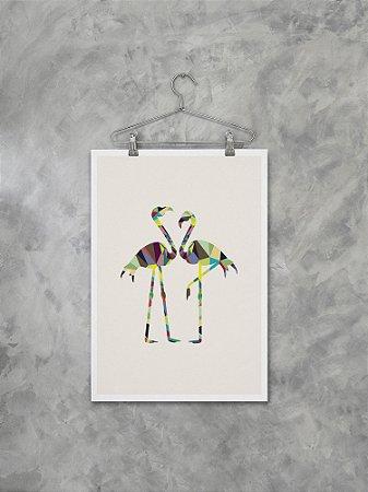 Poster Flamingos Geométricos