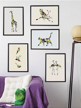 Kit com 5 Posters A3 Animais