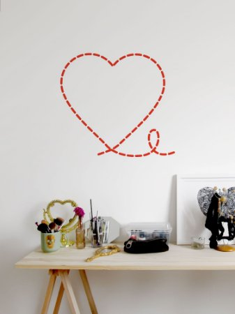 Adesivo de parede Coração Costurado