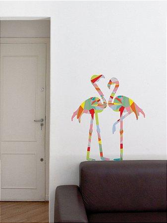 Adesivo de Parede Flamingos Geométricos