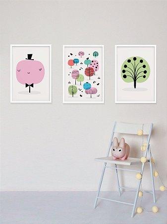 Kit com 3 Posters A3 Árvores Kids