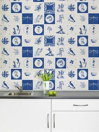 Adesivo de azulejo Moléstia Azul