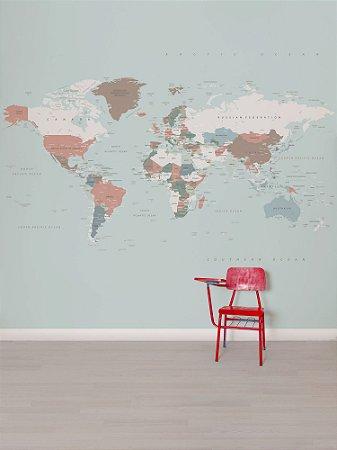 Painel Papel de Parede Adesivo Mapa Color