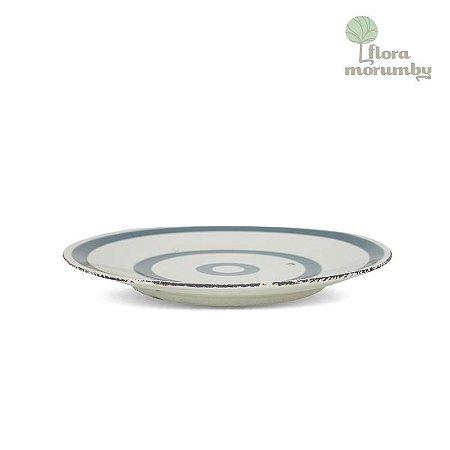 ENFEITE CR DISH LINES 43X39 AZUL/BRANCO