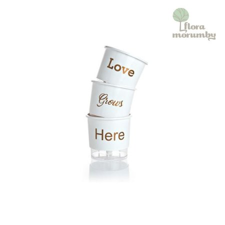 VASO AUTOIRRIGAVEL N2 KIT LOVE GROWS HERE - BRANCO