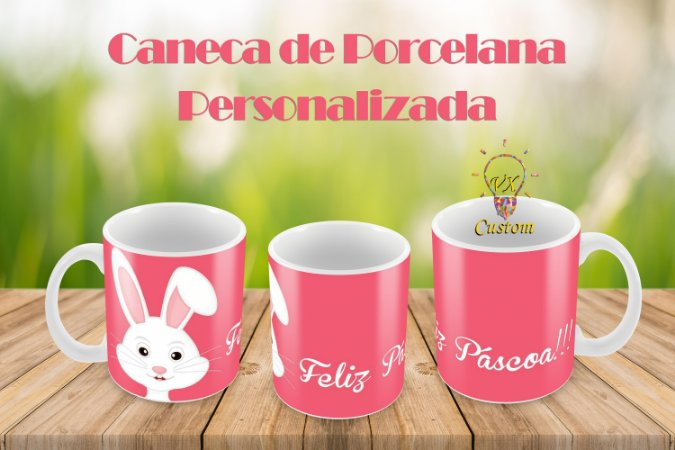 Caneca de Porcelana Personaliza Feliz Páscoa!