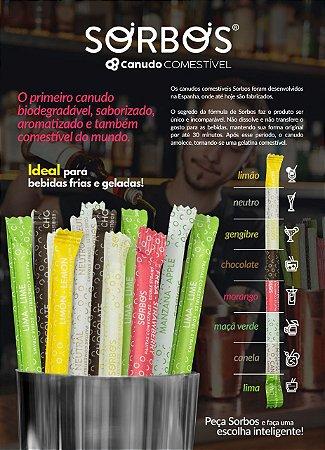 Canudo Comestível Sorbos - Caixa com 200 Unidades - Escolha seu sabor