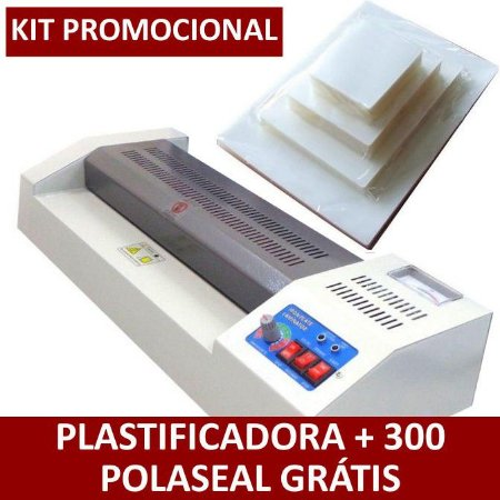 Kit Plastificadora de Documentos A3/A4/Ofício 110v + 300 Polaseal