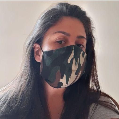 Máscara Tecido Branco Camuflado Não Descartável Pacote c/ 3 un (PRONTA ENTREGA)