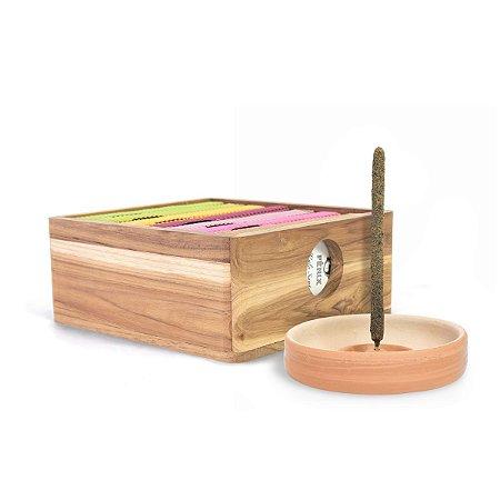 Kit 7 Mais Vendidos + Caixa Teca + Incensário de Cerâmica