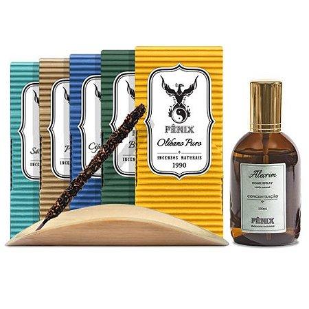 Kit Incensos Grandes c/ 5 caixas + incensario + Home Spray Alecrim