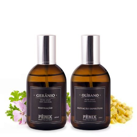 Kit Home Spray Gerânio + Olíbano (100ml cada)