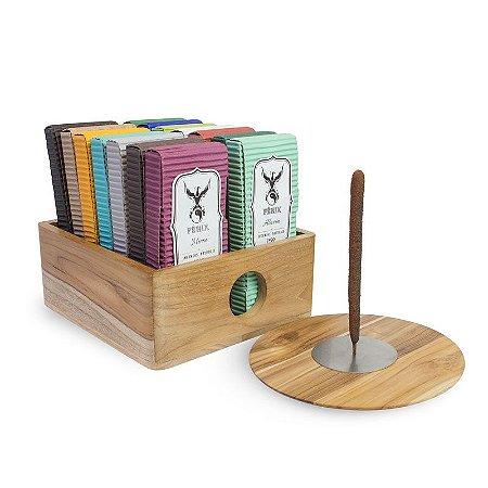 Kit Incensos Artesanal c/ 14 caixas + Incensário e Caixa Teca