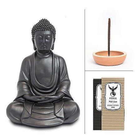Kit Buda Fosco + 2 Incensos + Incensário Cerâmica