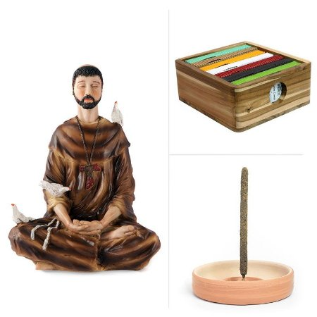 São Francisco + 7 incensos mais vendidos + Caixa TECA + Incensário de Cerâmica