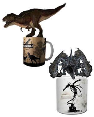 Combo Caneca Dragao e Dinossauro com realidade aumentada