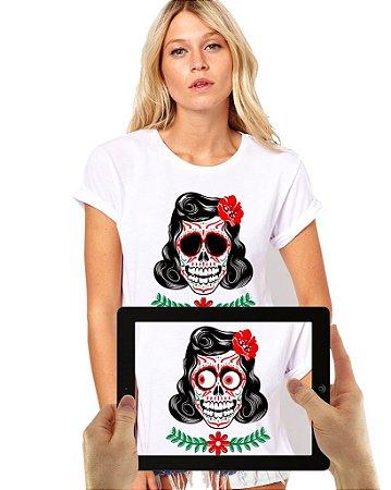 Blusinha Caveira Mexicana Feminina com Realidade Aumentada