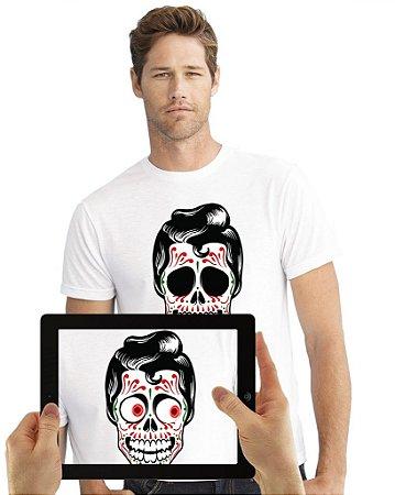 Camiseta Caveira Mexicana Masculina com Realidade Aumentada