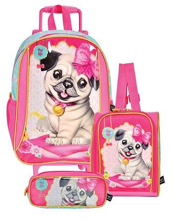023cd1d165 Mochila Cachorrinha Pug Rodinhas Lancheira Estojo Kit Escola
