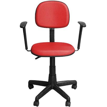 Cadeira Escritório Secretária com Braço Vermelha Giratória com Regulagem de Altura - Pethiflex