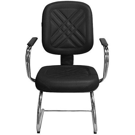 """Cadeira Diretor Preta Fixa com Pés em """"S"""" e Braços Cromado - Pethiflex"""