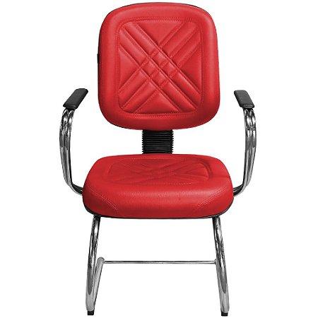 """Cadeira Diretor Vermelha Fixa com Pés em """"S"""" e Braços Cromado - Pethiflex"""