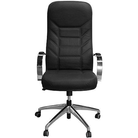 Cadeira Presidente Magínifica Luxo Giratória Preta  Estrela em Alumínio - Pethiflex