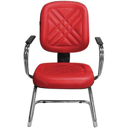 Cadeira para Recepção e Igreja Fixa Diretor Vermelha - Pethiflex