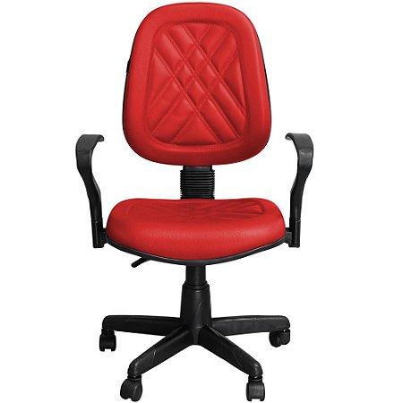 Cadeira para Escritório Giratória Executiva Vermelha com Braços - Pethiflex