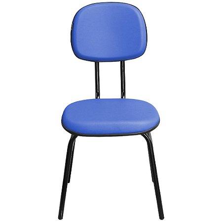 Cadeira Secretária Fixa 3/4 Couro Ecológico Azul  - Pethiflex