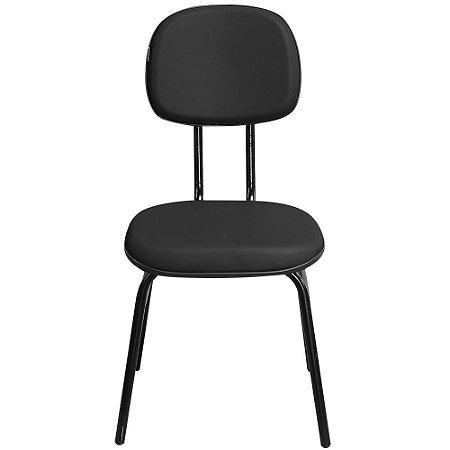 Cadeira Secretária Fixa 3/4 Couro Ecológico Preta - Pethiflex