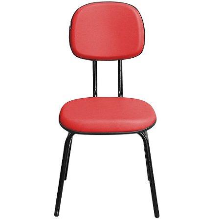 Cadeira Secretária Fixa 3/4 Couro Ecológico Vermelha - Pethiflex