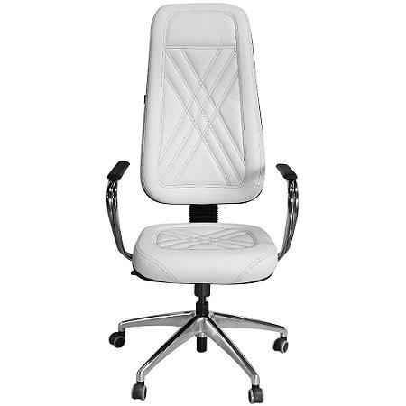 Cadeira Presidente Branca Costura Preta para Clínicas e Escritórios