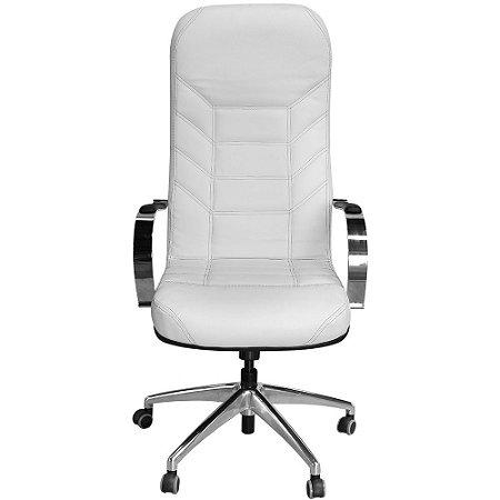Cadeira Presidente Magnífica Branca Costura Preta para Dentistas e Escritórios
