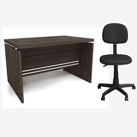 Kit Mesa de Escritório Carvalho 1.20m com Cadeira Secretária Preta