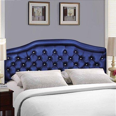 Cabeceira Estofada Madri Azul Marinho com Capitonê para Cama Box Casal 1.40m - Pethiflex