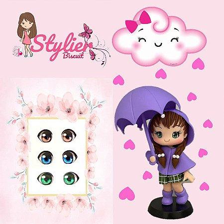 Olhos Resinados R072 Chibi p/ Apliques de Laços (Petit) - Stylier